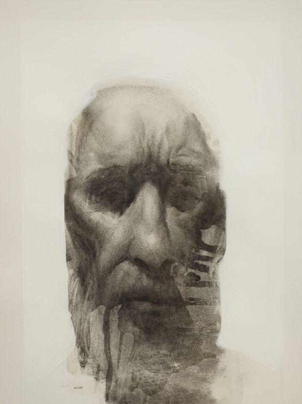 Artist Daniel Ochoa Old man 2012, 12x9in, charcoal, gesso and matte medium on paper, 2012