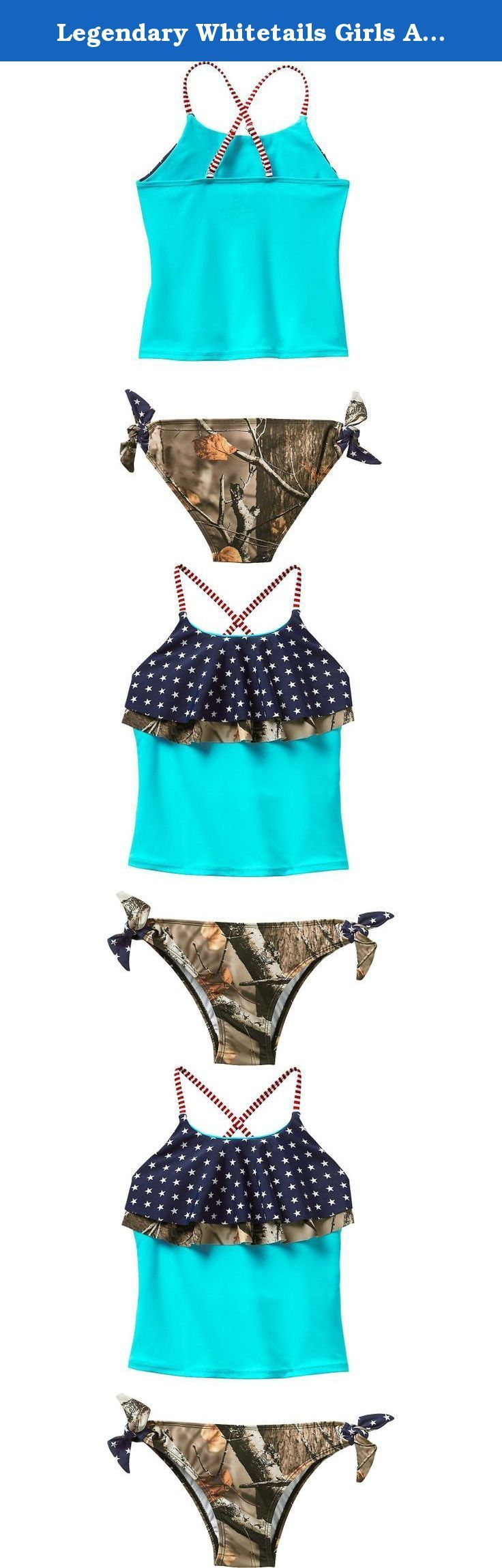 Legendary Whitetails Girls Americana Swimsuit Vintage Stars Small. Let your little one showcase her love of camo and America in one swimsuit! Just like Legendary® ladies tankini this swimsuit features stars, stripes and Big Game® Camo on a comfortable and durable nylon⁄spandex blend. Just too cute to pass up! Material: 80% Nylon and 20% Spandex Wash: Hand wash cold separately. Use only non-chlorine bleach if needed. Line dry in the shade. Do not iron. .