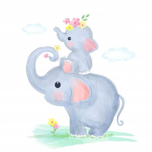 Mommy And Baby Elephant Play Together Baby Elephant Cartoon Elephant Illustration Baby Elephant Drawing