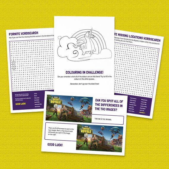 Childrens Fortnite Activity Pack Wordsearch Spot The
