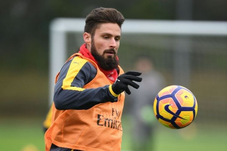 Olivier Giroud of Arsenal during a training session at London Colney on January 30, 2017 in St Albans, England.