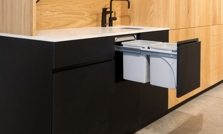 Commercial Office Kitchen - Hideaway Soft Close 2 x 15L Grey Bin