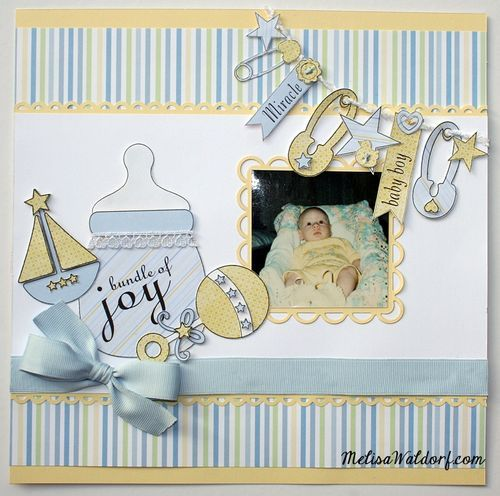 Baby boy - Melisa Waldorf - Baby bottle shaped card and all about babies set