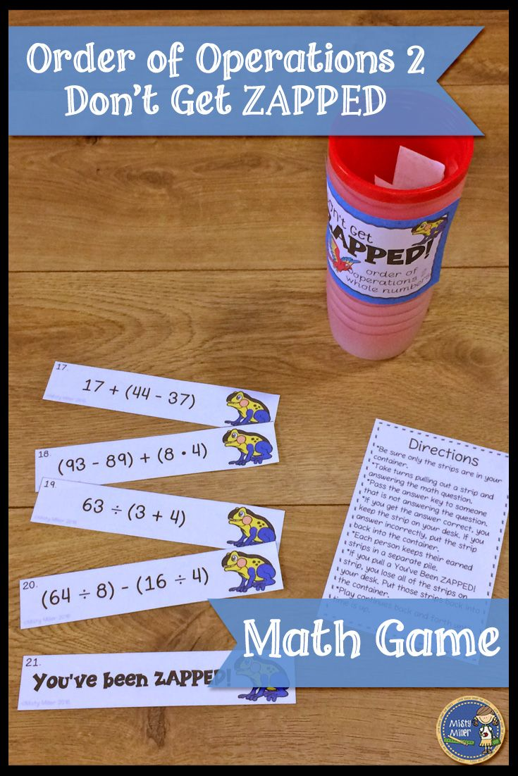 Review or practice order of operations problems (4 operations with parenthesis, no exponents, whole numbers only) with this fun and engaging math game! A perfect math game for math centers or early finishers. Players try to hold on to their strips and not get ZAPPED. $ grade 5-7 #math #mathreview #mathcenter #mathgame #orderofoperations #wholenumbers #teacherspayteachers
