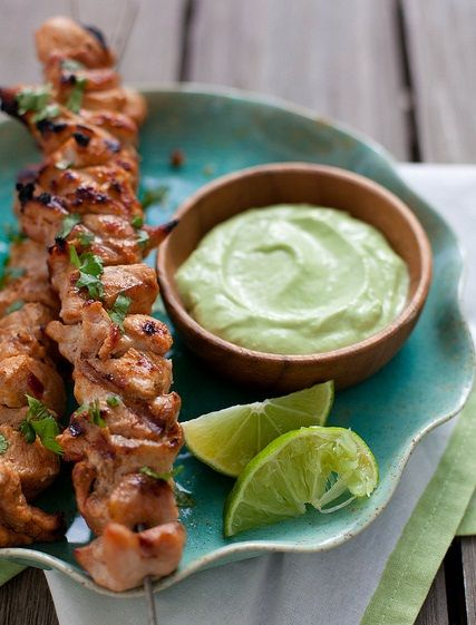 Chipotle Chicken Kabobs with Avocado Cream Sauce For the avocado cream sauce: 1 avocado, split and pitted ½ cup low-fat greek yogurt 1 clove garlic, minced Juice of 1 lime Salt and pepper, to taste