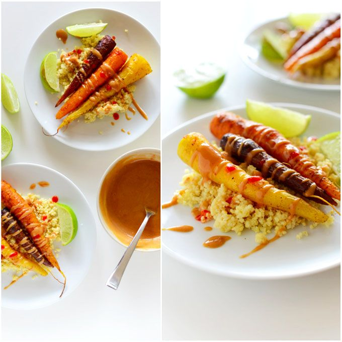 Curry Roasted Carrots with Peanut Sauce over millet
