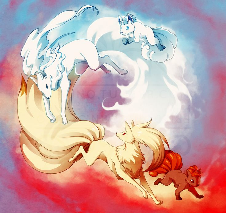 Vulpix and Ninetails and Alolan Vulpix and Ninetails - one of the best pokemon ever!
