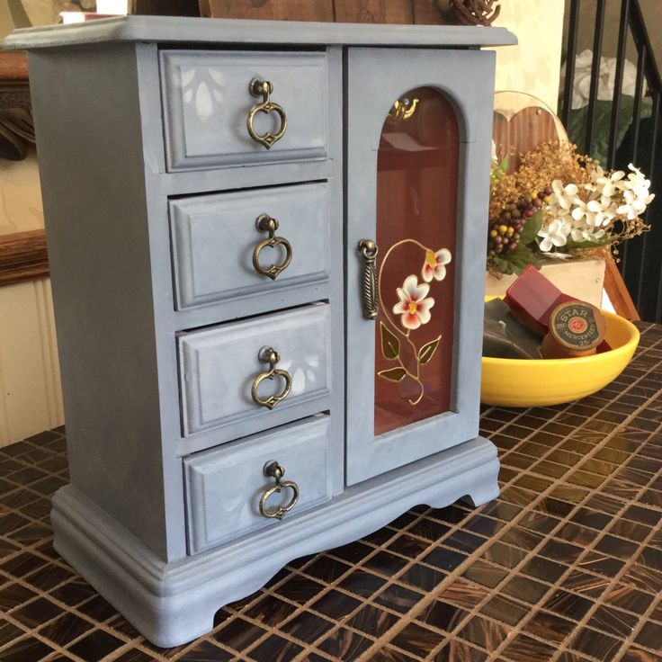 Upcycled Vintage Hand Painted Jewelry Box // Reclaimed Reconditioned Shabby Chic Jewelry Chest by ByeByBirdieDesigns on Etsy https://www.etsy.com/listing/234922266/upcycled-vintage-hand-painted-jewelry
