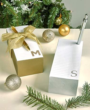$5.98 - Add a personal touch to your stationery with a Monogram Jumbo Notepad and Pen Gift Set. The lined pages of the notepad feature a metallic edge that coordinates
