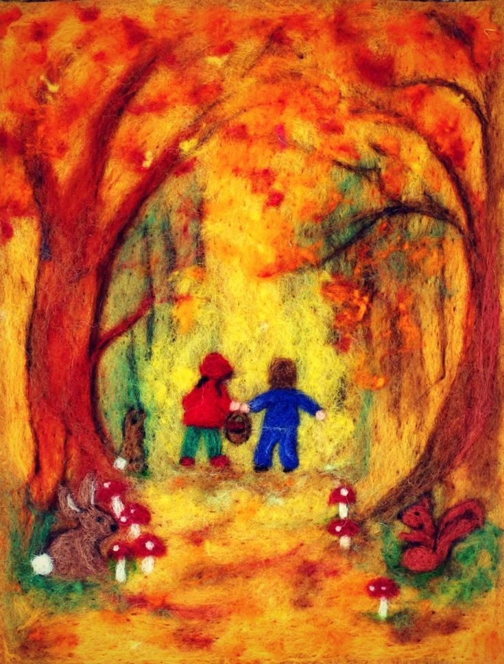 130501 Cathrine Ji's needle-felted autumn Hansel and Gretel in the woods picture