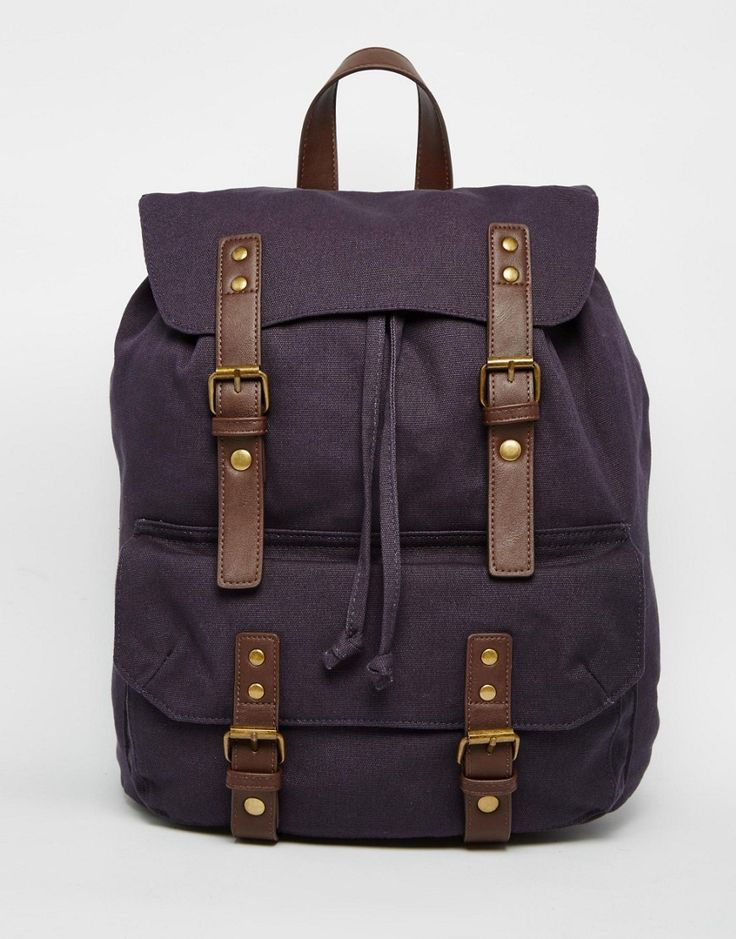 Image 1 ofASOS Smart Canvas Backpack In Navy