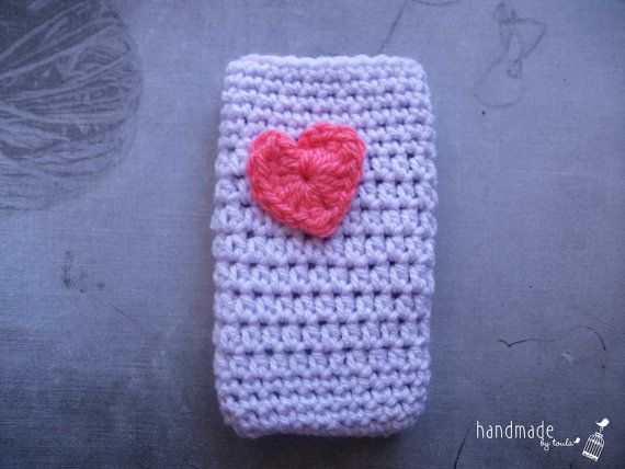 Lavender Crochet Mobile Cozy with pink Heart