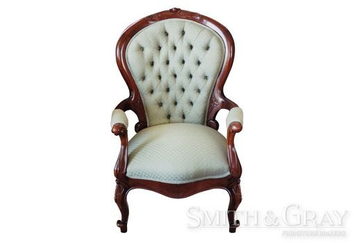 Antique reproduction carved traditional armchair with carved legs french polish and deep buttoned upholstery - See more at: www.smithandgray.com.au