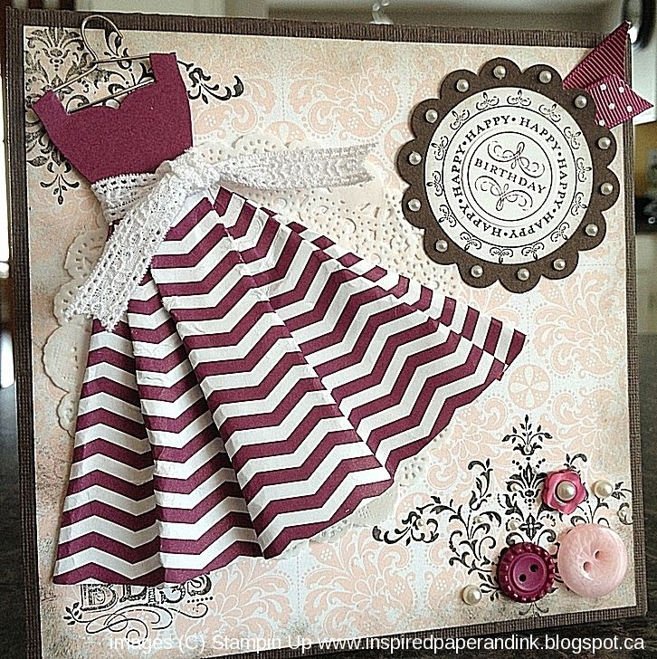 Stampin Up card using the Dress Up Framelits.  For full instructions see my blog, www.inspiredpaperandink.blogspot.ca