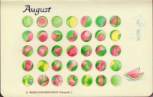 2013 August Calendar.   For this piece I used: Sakura Pigma, Faber-Castell, and Moleskine sketchbook.  © Belta(WAKABAYASHI Mayumi)