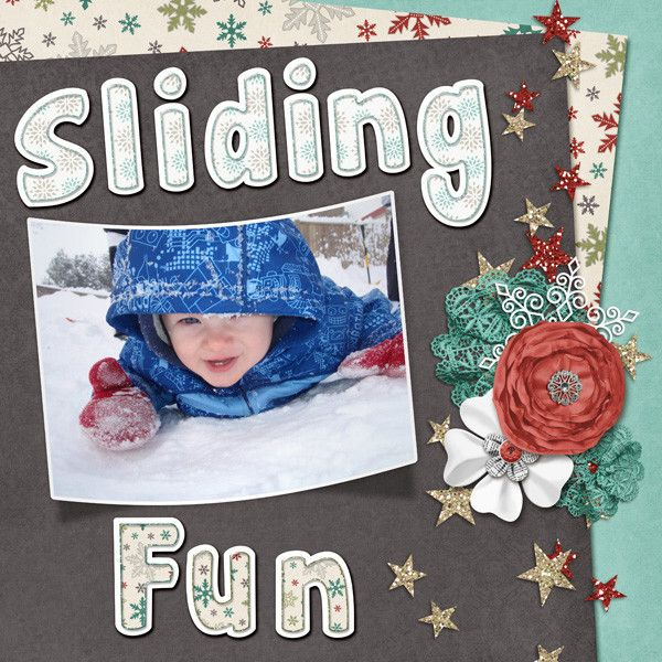 Sliding Fun Layout by KittenScraps using Winter's Playground Bundle by KittenScraps