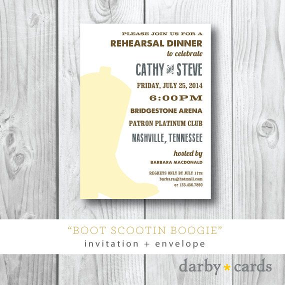 Boot Scootin Boogie | Cowboy Boot Country Rehearsal Dinner Party Invitation | Printed or Printable by Darby Cards on Etsy, $2.00