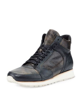 315 Mid Leather Trainer Sneaker, Black by John Varvatos at Neiman Marcus.