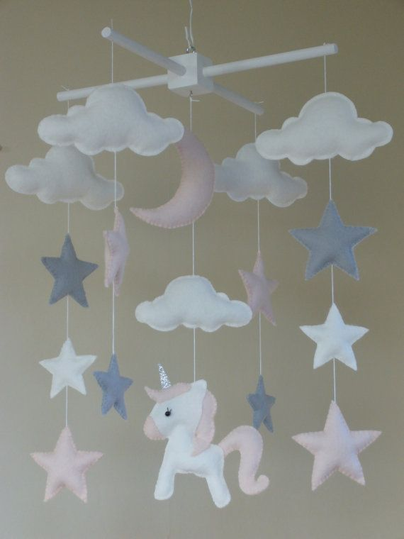 Unicorn Baby Mobile Unicorn Cot Mobile Star Moon by ClooneyCrafts