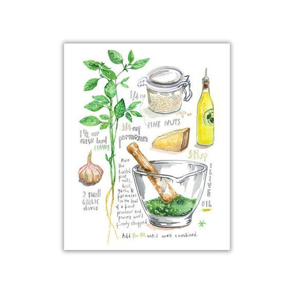 Italian Food Art Basil Pesto Recipe Print Kitchen Wall Decor