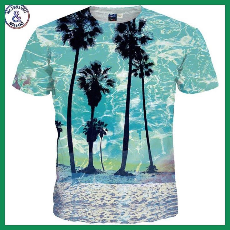 Mr.1991INC&Mis New Arrivals Men/Women 3d T-shirt Summer Quick Dry Tops Tees Digital Print Beach Side Coconut Tree Tshirt Fashion