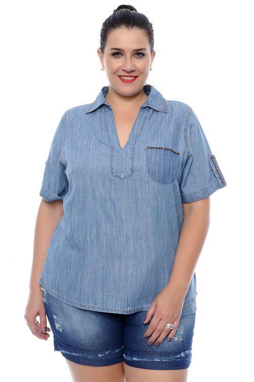 Blusa Plus Size Jeans Decote V