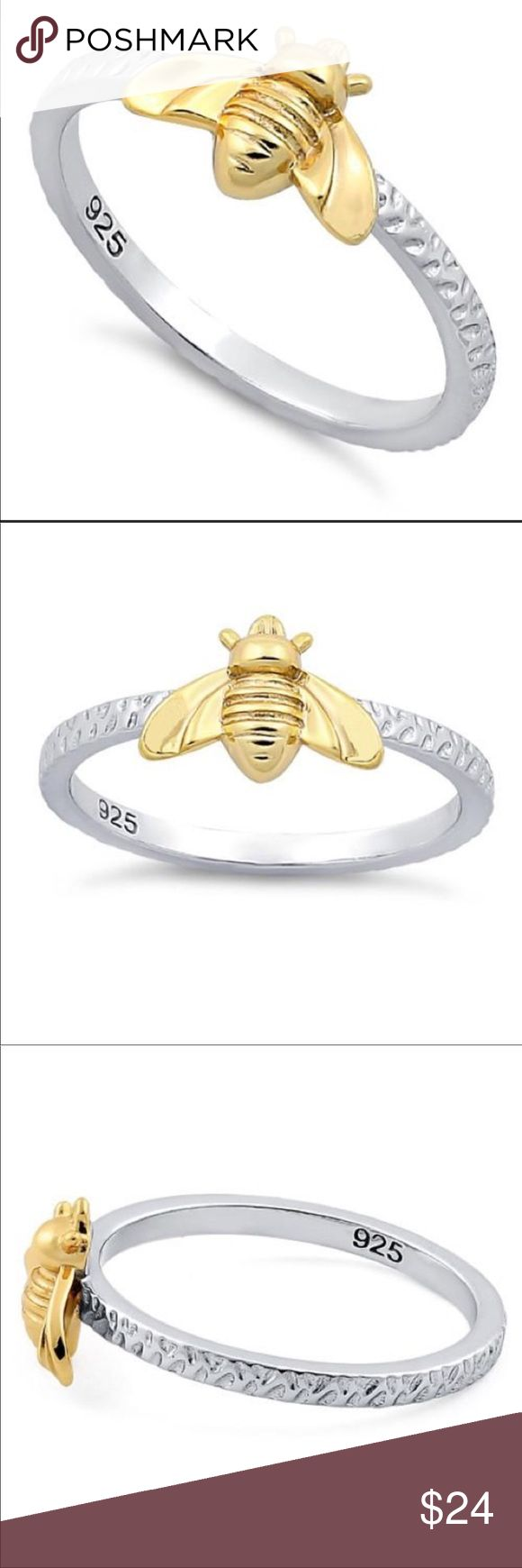 Bee ring Top of ring height: 7.8mm Top of ring width: 10.7mm Band width: 1.7mm Shank width: 1.7mm Metal: 925 sterling silver Plating: 14K yellow gold, rhodium plated Finish: high polish  Different sizes available please ask Jewelry Rings