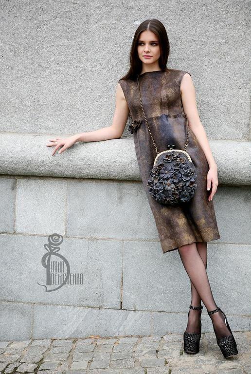 Купить Валяное платье «Шепот в темноте» - коричневый, street style, валяное платье