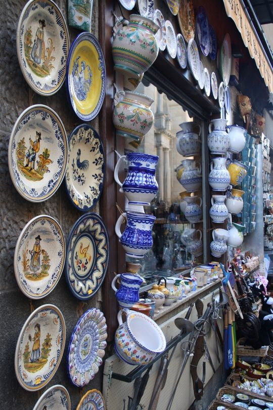 Bright pottery in Segovia, Spain