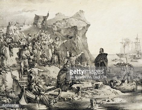 Giuseppe Garibaldi landing in Marsala, May 11, 1860, lithograph by the Terzaghi brothers, Milan. Expedition of the Thousand, Italy, 19th century. (http://www.gettyimages.com/detail/illustration/giuseppe-garibaldi-landing-in-marsala-may-11-lithograph-stock-graphic/549583793)