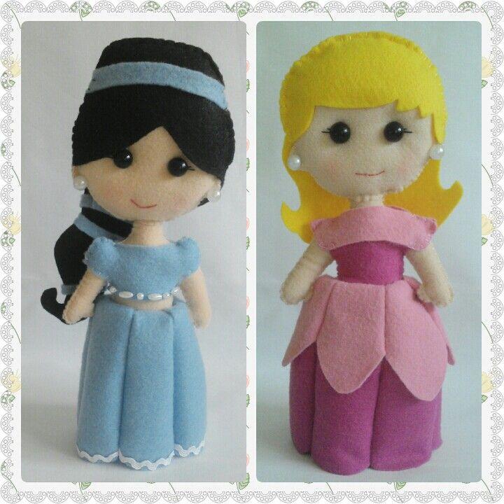 #bonecas #princesas #disney #Jasmine #Aurora #BelaAdormecida #feltro