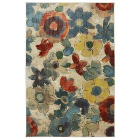 Mohawk Home Wildflower Rectangular Cream Floral Tufted Area Rug (Common: 8-ft x 10-ft; Actual: 8-ft x 10-ft)