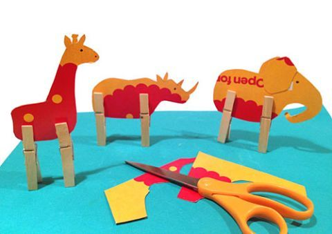 Make cardboard animals with clothespin legs ... cute!