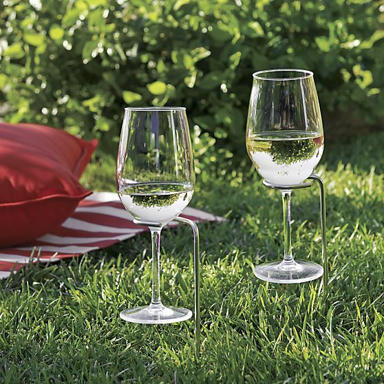 Set of 2 Steady Stick Wine Glass Holders | Crate and Barrel