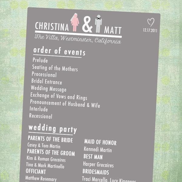 Chic Wedding Program // Double Sided // Unique Couple Questionnaire. $45.00, via Etsy.
