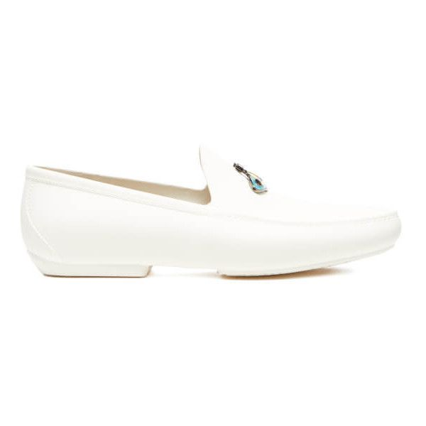 Vivienne Westwood MAN Men's Enamelled Orb Moccasin Shoes - White ($175) ❤ liked on Polyvore featuring men's fashion, men's shoes, men's loafers, white, mens moccasins shoes, mens white slip on shoes, mens loafer shoes, mens loafers and vivienne westwood mens shoes