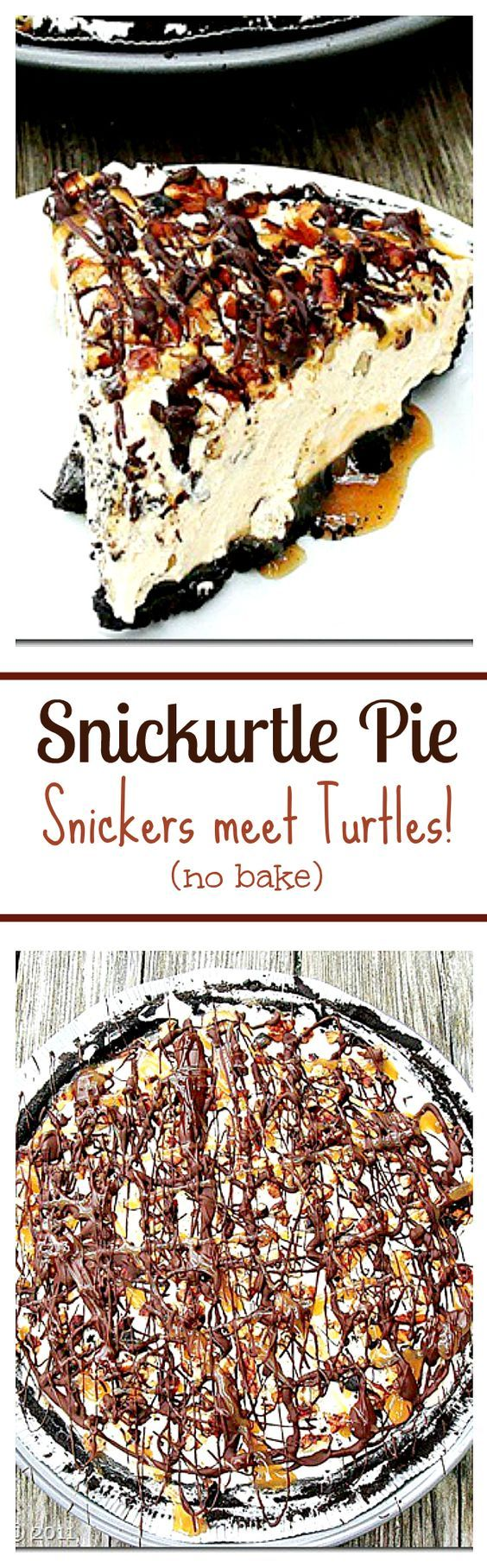 Snickurtle Pie - The marriage of two immensely yummy chocolate treats in one pie crust: Snickurtle Pie: Snickers meet Turtles.