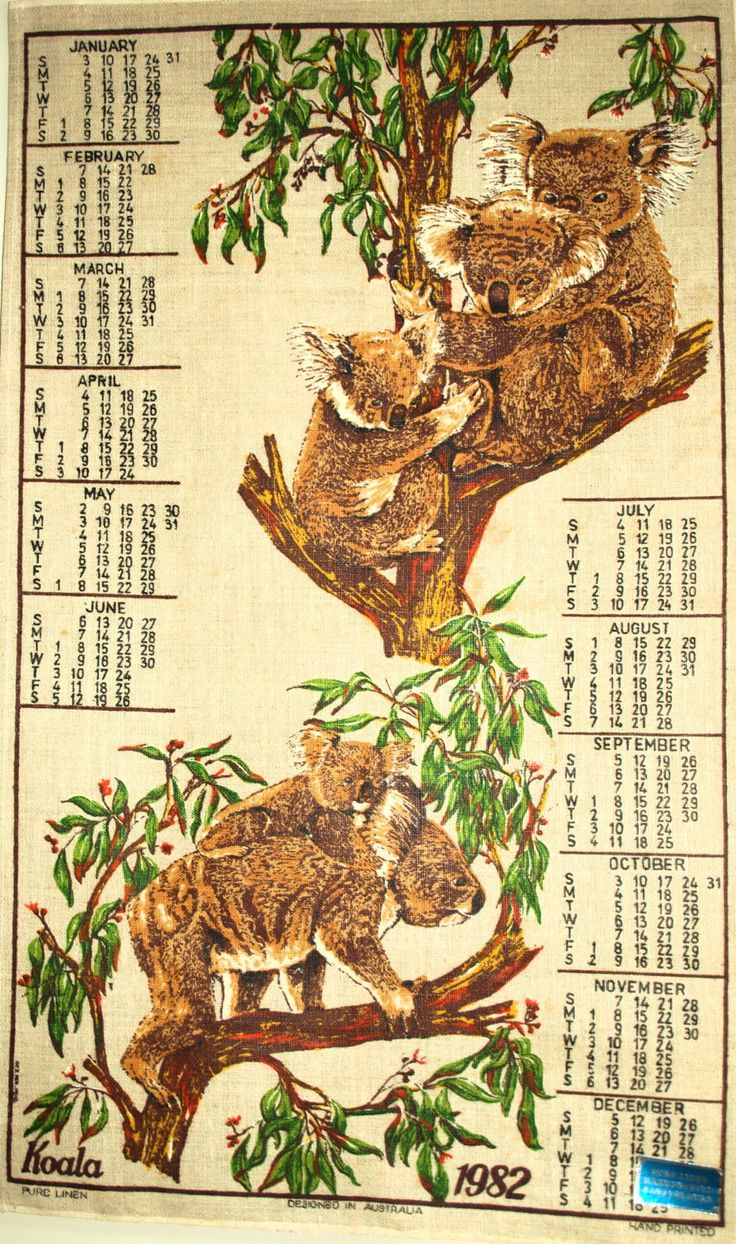 Retro Australia Calendar 1982 Wildflowers Souvenir Tea Towel - Vintage Australiana Birthday Kangaroo Koala Emu Kookaburra - Pure Linen by FunkyKoala on Etsy