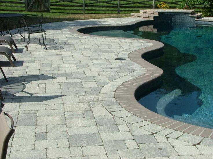 pavers   random pavers around pool with interlocking step system