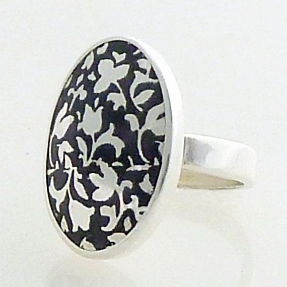 Etched and Enameled Silver Floral Print Ring