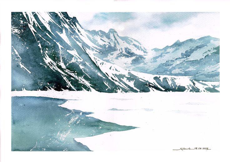 Arctic mountains. Autor : Magda Szubarczyk. Watercolour based on R.Rudko painting /  Arktyczne góry. Autorka : Magda Szubarczyk. Akwarela na podstawie obrazu R.Rudko.