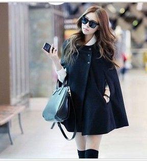 B1 women's 2013 winter cloak outerwear all-match woolen outerwear wool coat $30.48
