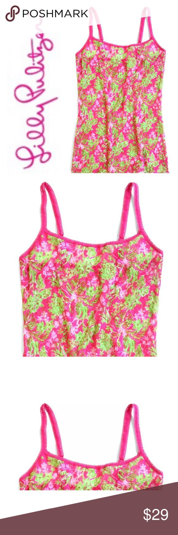 Lilly Pulitzer Unlined Camisole Hanky Panky XS Lilly Pulitzer Unlined Camisole Hanky Panky XS This brightly colored camisole is inspired by Lily Pultizer's colorful floral print styles that she started in the late 50's and early 60's. Made of nylon. Picot lace trim around neckline. Sleeveless. 4-way stretch for comfort. Covered elastic straps adjust in back with plastic hardware. Perfect for warm weather sleep, lounge and casual wear. Great for layering or wearing alone. Lilly Pulitzer…