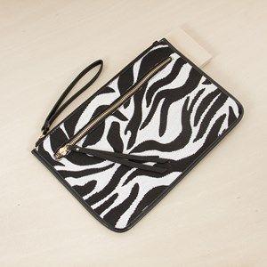 Zebra Weave Large Zip Front Rectangle Clutch