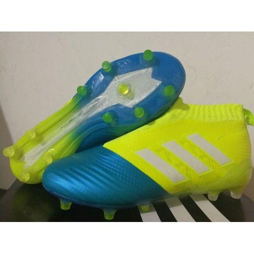 Adidas ACE 17 PureControl crampons pour terrain sec Jaune Bleu Blanche soldes