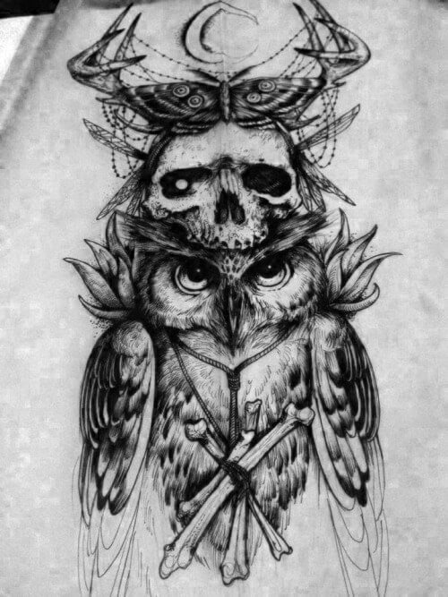 Black Owl Tattoo Designs and Ideas