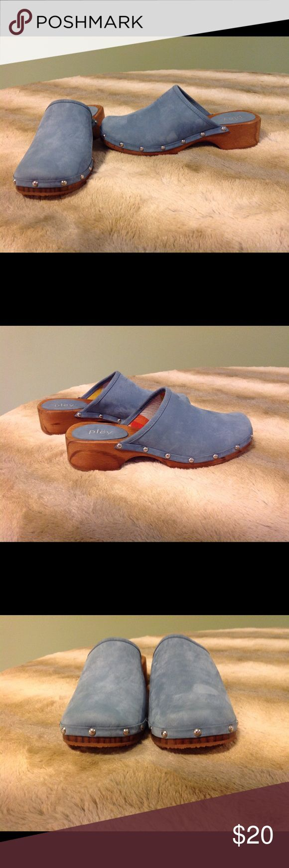 Pley clogs NWOB Pley clogs size 37. They are blue suede material with silver color studs. They are new without box. The original price was $98 but I paid $19.99. Pley Shoes Mules & Clogs