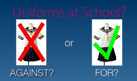 Many students strongly dislike wearing uniforms. Instead of feeling confident about their appearance, many students that wear uniforms feel uncomfortable and unhappy. People who are against school uniforms worry that forcing students to wear clothes they do not want to wear may depress them and can ultimately worsen their performance at school.