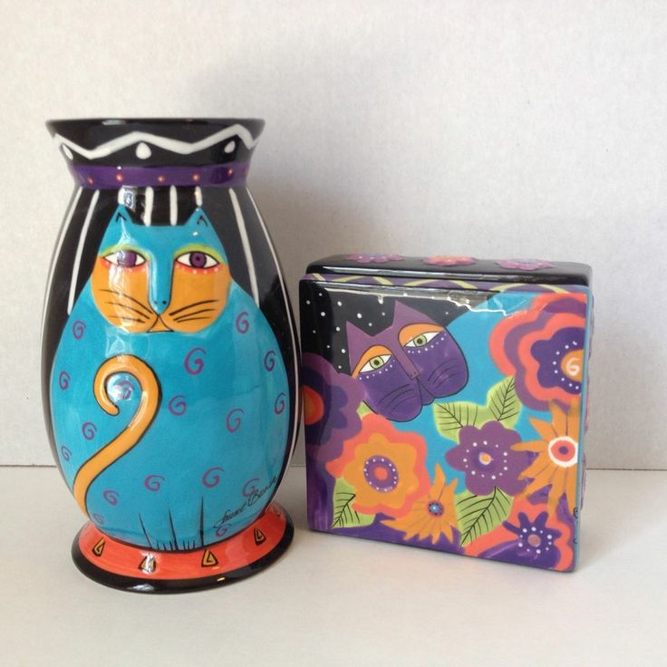 laurel burch cat lot set vase trinket box bright bella. Black Bedroom Furniture Sets. Home Design Ideas