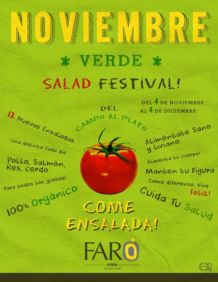 Noviembre Verde: Festival de ensaladas realizado en el restaurante FARÓ PEÑÓN en Cali Colombia #poster #posterdesign #salad #ensaladas #restaurantes #food #comida #diseñografico